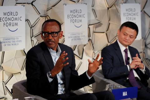 El presidente ruandés, Paul Kagame, junto al fundador de Alibaba, Jack Ma