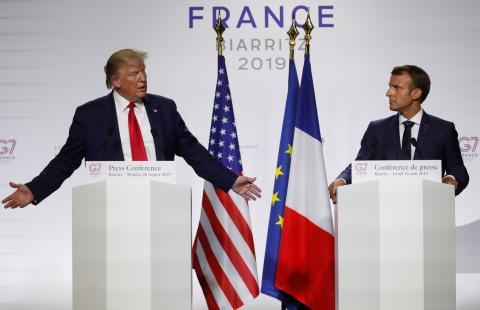 Los presidentes de EE.UU., Donald Trump, y de Francia, Emmanuel Macron