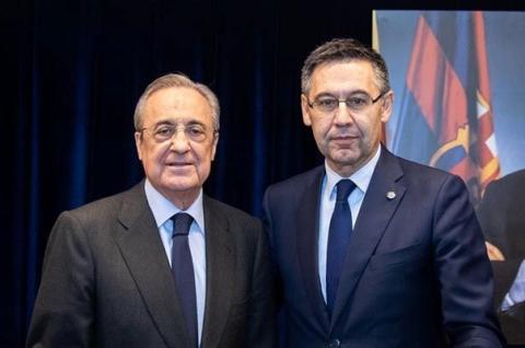 Los presidentes del Real Madrid y FC Barcelona, Florentino Pérez y Josep María Bartomeu.