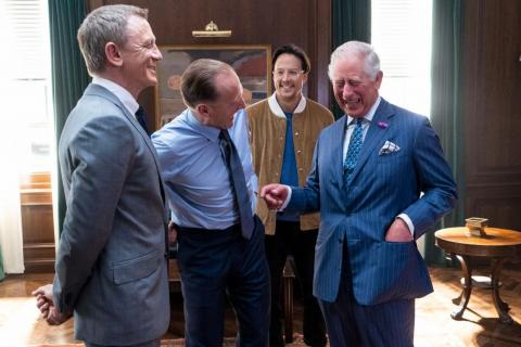 "Prince Charles has a laugh on the set of ""James Bond."""