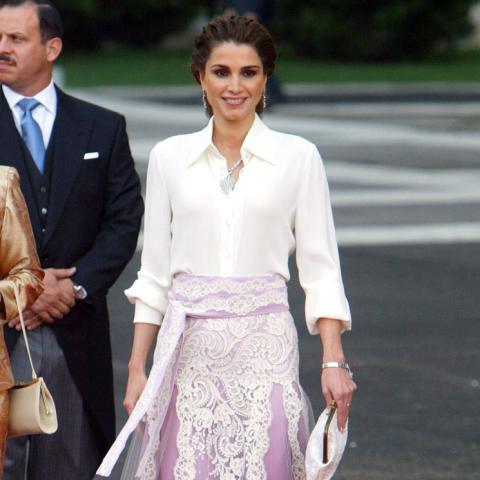 La reina Rania de Jordania en la boda de Felipe y Letizia.