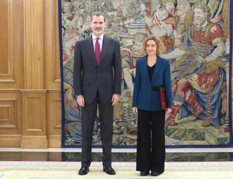 El rey Felipe VI y la presidenta del Congreso, Meritxel Batet