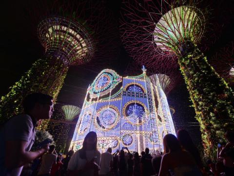La gente se reúne alrededor de la escultura de luz Luminarie durante el festival de iluminación de Navidad en Garden by the Bay en Singapur el 27 de noviembre de 2015.