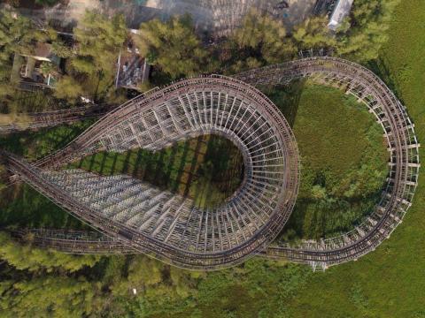 """El parque de atracciones abandonado """"Six Flags"""" en Nueva Orleans."""