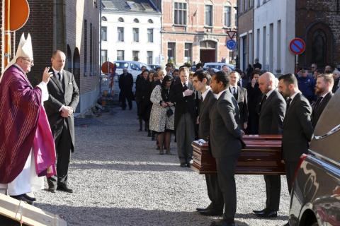 El funeral de la princesa Alix de Luxemburgo en la iglesia de Saint-Pierre en Beloeil en febrero.