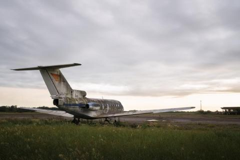 There's a non-functioning plane still sitting in the abandoned runway. The Yak-40 aircraft carried former Georgian president Eduard Shevardnadze to Abkhazia in March 1993 to take charge of Georgian forces in the region.