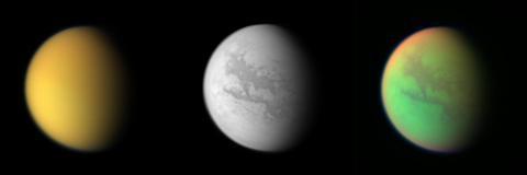 Tres vistas del satélite Titán de Saturno tomadas por la nave espacial Cassini.
