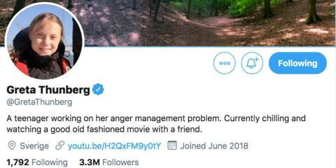 Biografía de Thunberg en Twitter el 12 de diciembre.