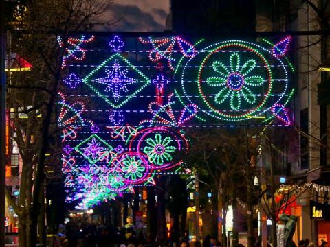 Iluminaciones de Navidad y Año Nuevo en el centro comercial Isezaki.