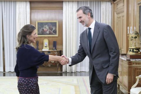 Yolanda Díaz, de En Común, con el rey.