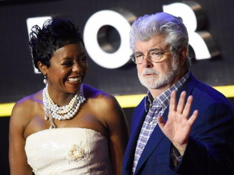 George Lucas con su esposa Mellody Hobson.