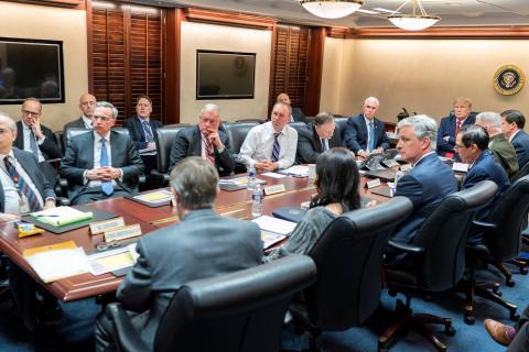 La Administración Trump, reunida en la Casa Blanca.