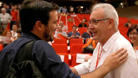 Alberto Garzón y el ex coordinador federal de Izquierda Unida Cayo Lara.