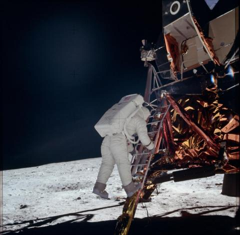 Apollo 11 put people on the lunar surface for the first time on July 20, 1969. The world watched live on TV.