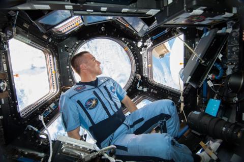 El astronauta Chris Cassidy mira a través de las ventanas de la Cúpula de la Estación Espacial Internacional, 7 de agosto de 2013.