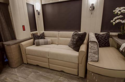 The bed sofa and jackknife sofa bed are made from both leather and fabric.