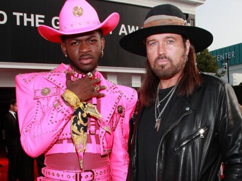 Lil Nas X and Billie Ray Cyrus at the 62nd Grammy Awards.