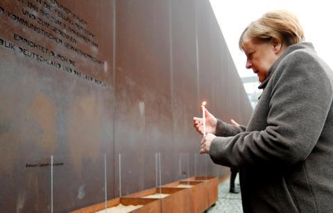 La canciller alemana, Angela Merkel, en la conmemoración del 30 aniversario de la caída del Muro de Berlín
