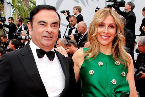 Carlos Ghosn, Chairman and CEO of the Renault-Nissan Alliance, and his wife Carole pose. Picture taken May 26, 2017.