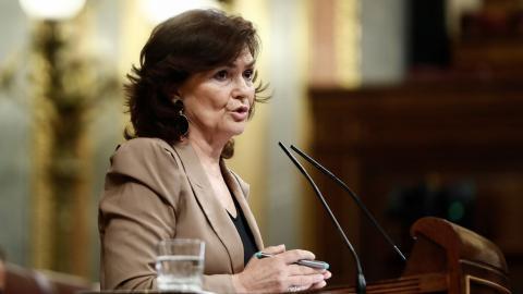 Carmen Calvo en el Congreso de los Diputados.