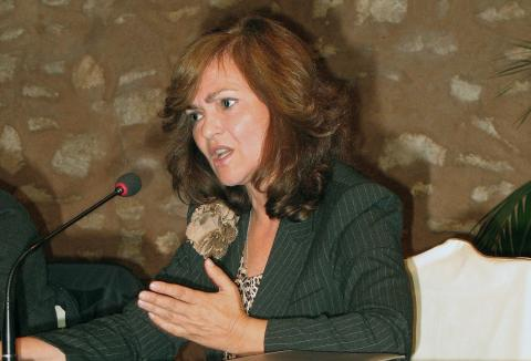 Carmen Calvo, durante un debate de le Escuela de la Ciudadanía.