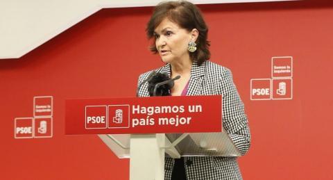 Carmen Calvo durante la campaña electoral.