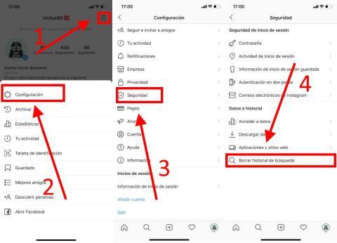 Cómo eliminar el historial de búsquedas o sugerencias de Instagram