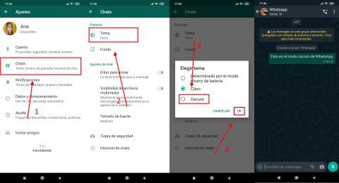 Cómo poner el modo oscuro de WhatsApp en Android