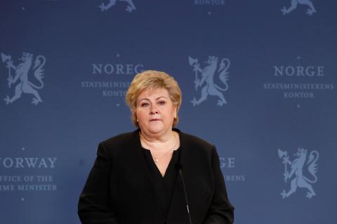 Erna Solberg, primera ministra de Noruega.