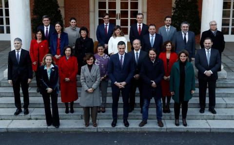 La foto de familia del nuevo Gobierno de Pedro Sánchez.