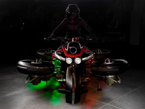 The French vehicle is called La Moto Volante, or the flying motorcycle, in English.