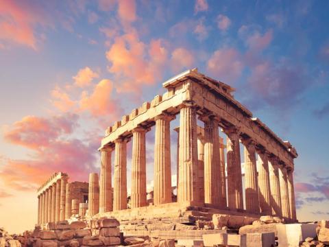 Templo del Partenón, parte del Acrópolis en Atenas, Grecia.