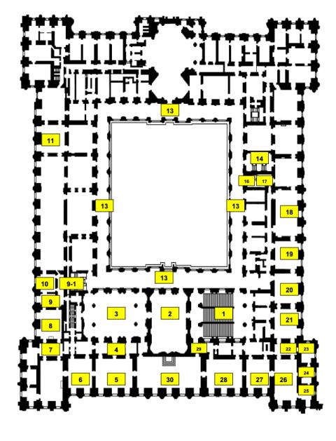 Habitaciones con alfombras sobre plano del Palacio Real de Madrid.