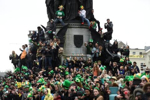 El día de San Patricio en Dublín.