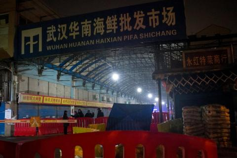 The Huanan Seafood Wholesale Market in Wuhan, which was sealed off after being identified as the epicenter of a new virus.