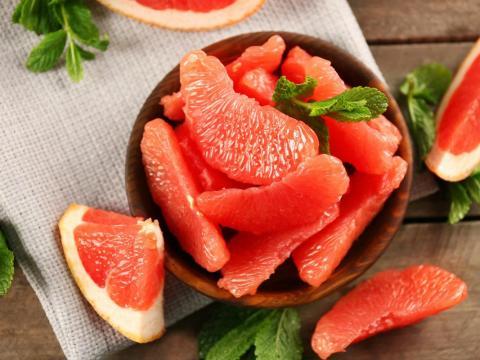 Grapefruit is a good source of vitamin C as well as potassium, pectin, and fiber.