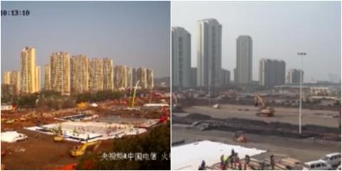Las imágenes muestran los trabajos de construcción de los dos nuevos hospitales de la ciudad de Wuhan.