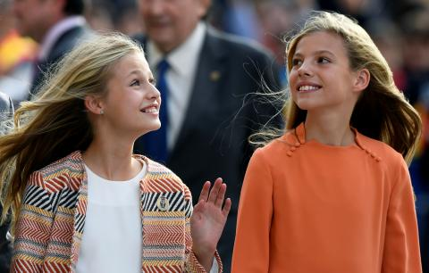 Las infantas Sofía y Leonor.