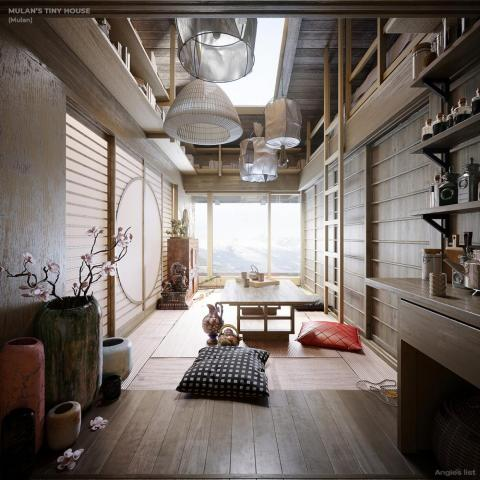 Interior de la casita imaginaria de Mulán.