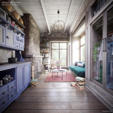Inside Belle's home.