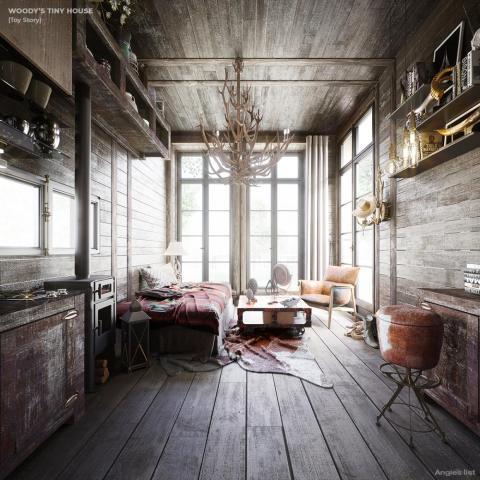 Interior de la casita imaginaria de Woody.