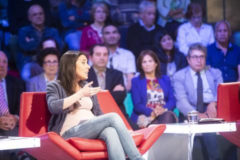 Irene Montero, en un plató de televisión.