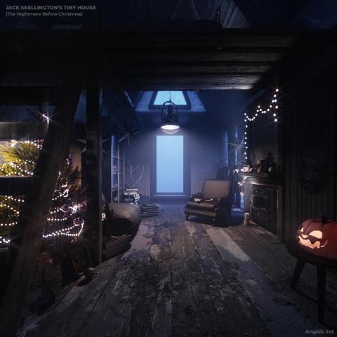 Interior de la casita imaginaria de Jack Skellington.