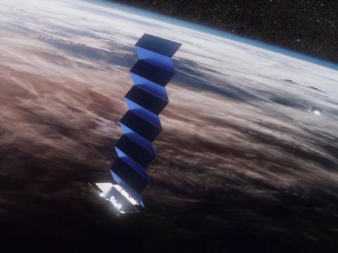 Una ilustración de la constelación de internet del satélite Starlink de SpaceX en órbita alrededor de la Tierra.