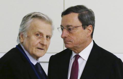 Jean Claude Trichet y Mario Draghi.