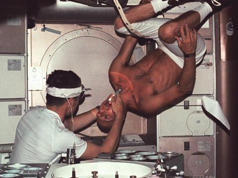 Joseph Kerwin, Skylab's pilot and doctor, conducted physical exams for astronauts onboard in order to collect data on the physical toll of human spaceflight.
