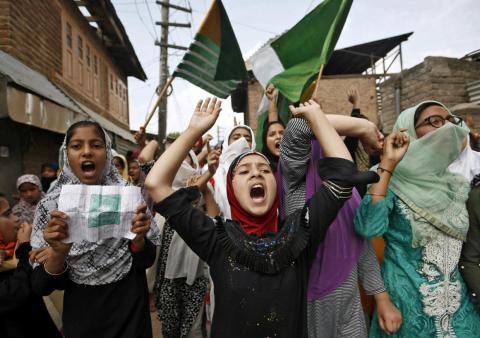 Kashmiri women protesting the scrapping of Kashmir's semi-autonomous status in September 2019.