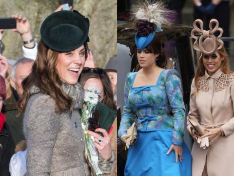 Kate Middleton, la princesa Beatrice y la princesa Eugenie.