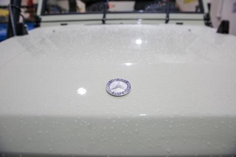 Levin selected the white exterior finish, which has also been wet-sanded and polished.
