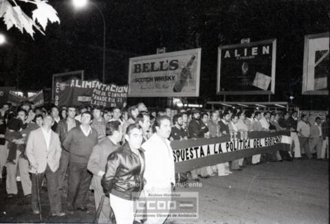 Una manifestación de CCOO en Sevilla contra la política laboral de la UCD